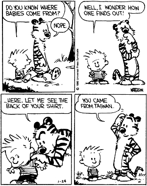 Calvin and Hobbes: Babies are from Taiwan